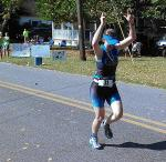 Owner Laura finishes a recent marathon